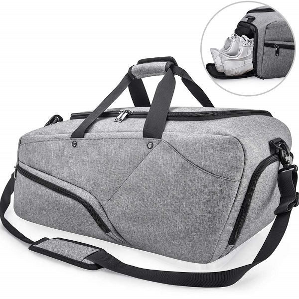 bolsa deportiva gris barata hombre